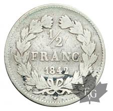 FRANCE-1842W-1/2 FRANC-LOUIS PHILIPPE- LILLE-TB