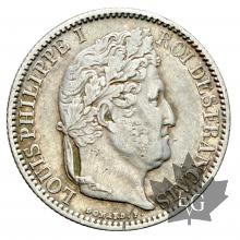 FRANCE-1847A-1/2 FRANC-LOUIS PHILIPPE-TTB-SUP