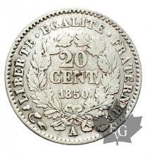 FRANCE-1850A-20 CENT-II RÉPUBLIQUE-Oreille basse-TTB