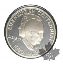 USA-1990-1 DOLLAR-PROOF-Eisenhower Centennial-Liberty