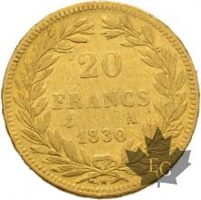 FRANCE-1830A-20 FRANCS-LOUIS PHILIPPE-tranche en relief-prTTB