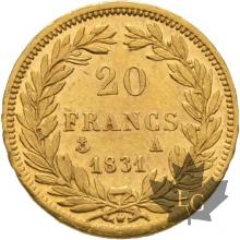 FRANCE-1831A-20FRANCS-LOUISPHILIPPE-trancheenrelief-PARISTTB-SUP