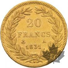 FRANCE-1831A-20 FRANCS-LOUIS PHILIPPE-trancheenrelief-PARIS-TTB+