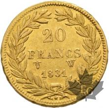 FRANCE-1831W-20 FRANCS-LOUIS PHILIPPE-trancheenrelief-LILLE-TTB+