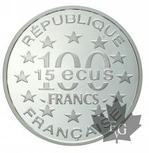 FRANCE-1993-100 FRANCS-15 ECU-PORTE BRANDEBURG- PROOF