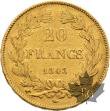 FRANCE-1843W-20 FRANCS-LOUIS PHILIPPE-LILLE-TTB+