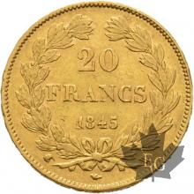 FRANCE-1845W-20 FRANCS-LOUIS PHILIPPE-LILLE-TTB-SUP