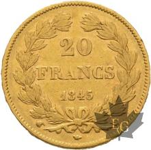 FRANCE-1845W-20 FRANCS-LOUIS PHILIPPE-LILLE-prTTB