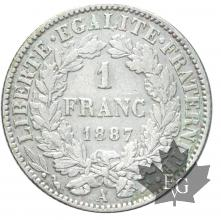 FRANCE-1887-1 FRANC-III RÉPUBLIQUE-TTB