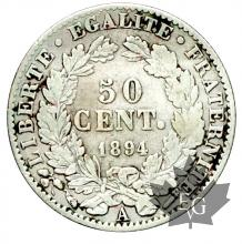 FRANCE-1894-50 CENT-III RÉPUBLIQUE-TTB