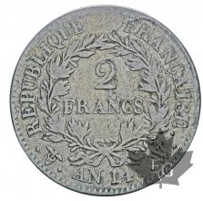 FRANCE-AN14 W(1805)-2 FRANCS-PREMIER EMPIRE-TB+