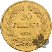 FRANCE-1834A-20 FRANCS-LOUIS PHILIPPE-PARIS-TTB-SUP