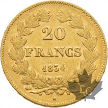 FRANCE-1834L-20 FRANCS-LOUIS PHILIPPE-Bayonne-TTB-SUP