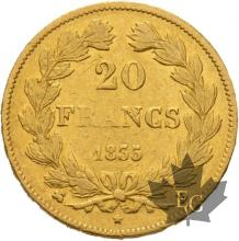FRANCE-1835B-20 FRANCS-LOUIS PHILIPPE-Roeun-TTB+