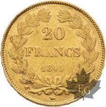 FRANCE-1843W-20 FRANCS-LOUIS PHILIPPE-TTB-SUP-Lille
