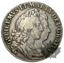 GRANDE BRETAGNE-1693-1/2 CROWN-William & Mary-TTB