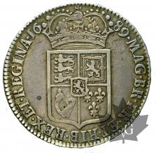 GRANDE BRETAGNE-1689-1/2 CROWN-William & Mary-TTB