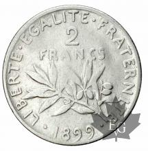 FRANCE-1899-2 Francs semeuse-TTB