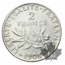 FRANCE-1908-2 Francs semeuse-TTB-SUP