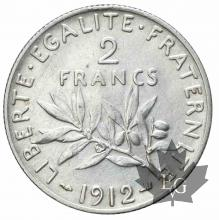 FRANCE-1912-2 Francs semeuse-SUP