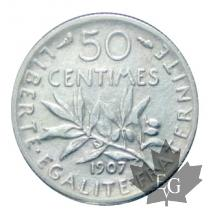 FRANCE-1907-50 CENTIMES Semeuse-TTB-SUP