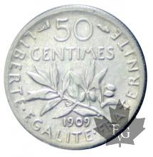 FRANCE-1909-50 CENTIMES Semeuse-TTB-SUP