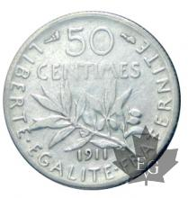 FRANCE-1911-50 CENTIMES Semeuse-TTB+