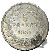 FRANCE-1837B-5 FRANCS LOUIS PHILIPPE I-SUP