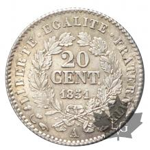 FRANCE-1851A-20 CENTIMES-CERES-IIè République-SUP-FDC