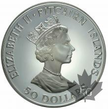 PITCAIRN ISLANDS-Elizabeth II-50 dollars-5 onces/OZ-1989-PROOF