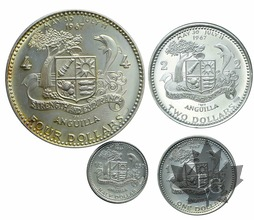 ANGUILLA-1969-Silver set-1/2-1-2-4 DOLLARS-PROOF