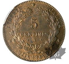 FRANCE-1876A-5 CENTIMES-Cérès-PCGS MS64RB