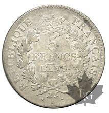 FRANCE-1796-5 Francs An 5A Union et Force  G. 563  TBTTB