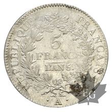 FRANCE-1796-5 Francs An 5A Union et Force  TTB