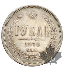 RUSSIE-1878-Rouble-Superbe-Alexandre II, 1855-1881