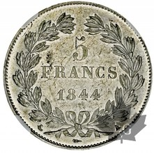 FRANCE-1844 A-5 FRANCS-LOUIS PHILIPPE-NGC MS62
