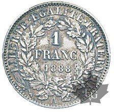 FRANCE-1888-1 FRANCS CERES- PCGS MS65