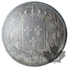 FRANCE-1819 B-ROUEN-5 FRANCS-LOUIS XVIII-AU58