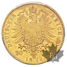 Allemagne-1873 H-20 Marks-Hess Darm-PCGS AU55