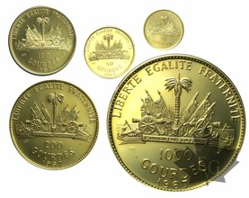 HAITI-1967-PROOF SET-20, 50, 100, 200, 1000 Gourdes-or