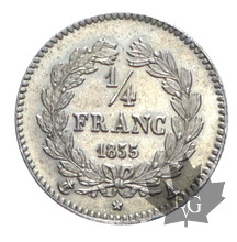 FRANCE-1835-1/4 FRANC-Louis Philippe-SUP-FDC
