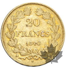 FRANCE-1840W-20 FRANCS-LOUIS PHILIPPE-TTB
