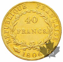 FRANCE-1806I-40 FRANCS or-Traces de nettoyage-SUP