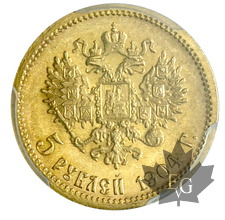 RUSSIE-1904 AP-5 ROUBLES-Nicolas II-FDC-PCGS MS66