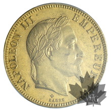 FRANCE-1866BB-100 FRANCS-NAPOLEON III-PCGS MS61