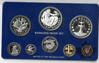 BARBARDOS-1975-8 COINS PROOF SET WITH SILVER