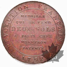 FRANCE-1792-2 SOL-PCGS MS63 BN