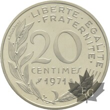 FRANCE-1971-20-CENTIMES-ARGENT-MARIANNE-PIEFORT-FDC