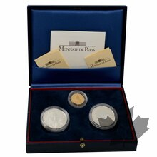 FRANCE-1198-COFFRET-OR-ET-ARGENT-100-FRANCS-BE