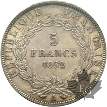FRANCE-1852A-5 FRANCS-NAPOLEON III-J.J. BARRE-PCGS MS63